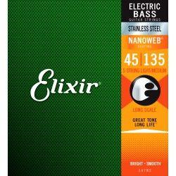 Elixir Nanoweb El Bass 5 Stainless Steel 45-135 - Set Corzi Chitara Bass Elixir - 1