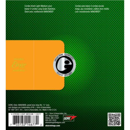 Elixir Nanoweb El Bass 4 Stainless Steel 50-105 - Set Corzi Chitara Bass Elixir - 1