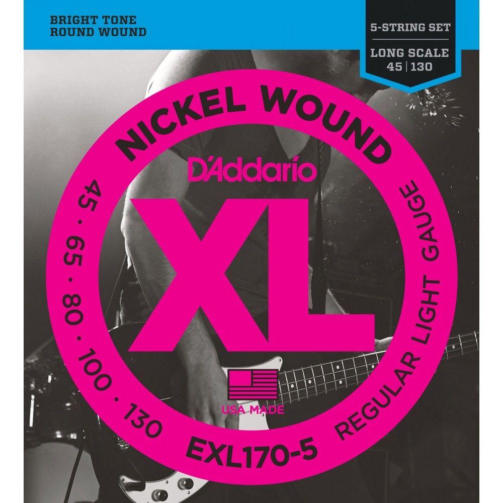 D'Addario EXL170-5 Long Scale - Set 5 Corzi Chitara Bass 45-130 D'Addario - 1
