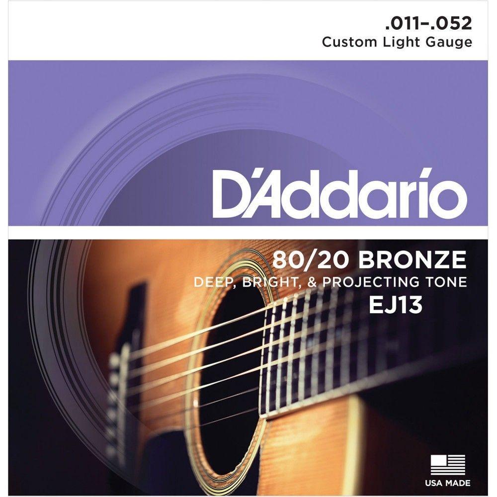 D'Addario EJ13 80/20 Bronze - Set Corzi Chitara Acustica 11-52 D'Addario - 1