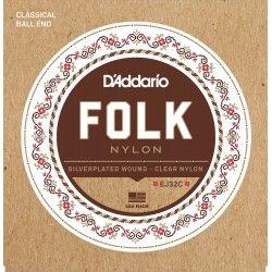 D'Addario EJ32C Folk Clear Nylon - Set Corzi Chitara Clasica D'Addario - 1