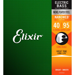 Elixir Nanoweb El Bass 4 Strings 40-95 - Set 4 Corzi Chitara Bas Elixir - 1