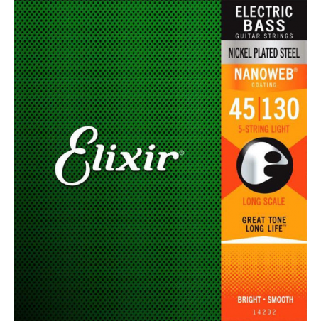 Elixir Nanoweb El Bass 5 Strings 45-130 - Set Corzi Chitara Bass Elixir - 1