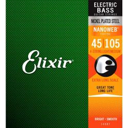 Elixir Nanoweb El Bass 4 Strings XLong 45-105 - Set corzi chitara bass Elixir - 1