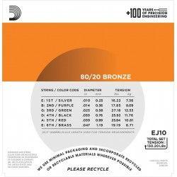 D'Addario EJ10-3D 80/20 Bronze - 3 Seturi Corzi Chitara Acustica 10-47 D'Addario - 3