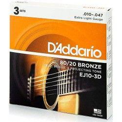 D'Addario EJ10-3D 80/20 Bronze - 3 Seturi Corzi Chitara Acustica 10-47 D'Addario - 2