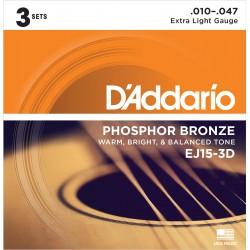 D'Addario EJ15-3D Phosphor Bronze - 3 Seturi Corzi Chitara Acustica 10-47