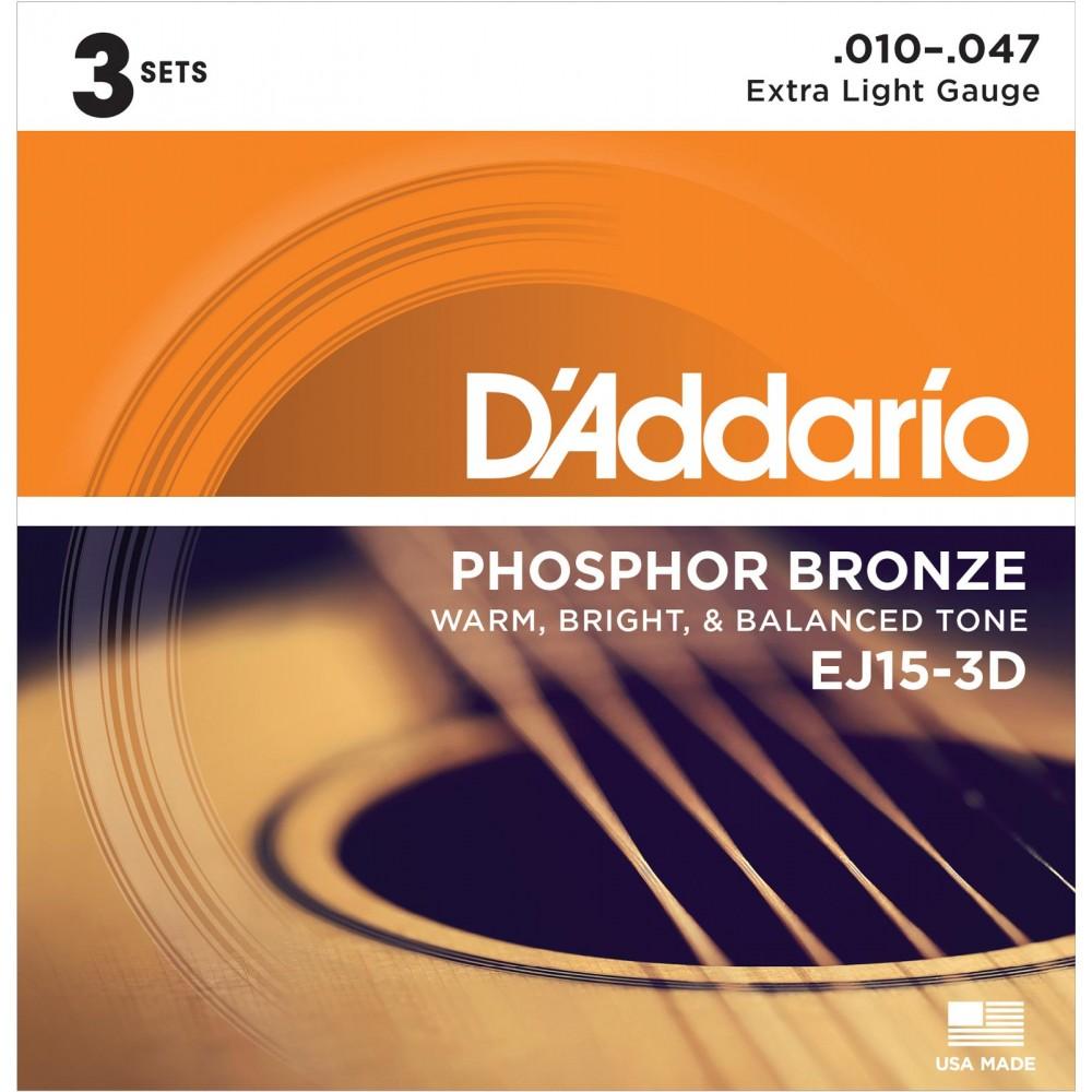 D'Addario EJ15-3D Phosphor Bronze - 3 Seturi Corzi Chitara Acustica 10-47 D'Addario - 1