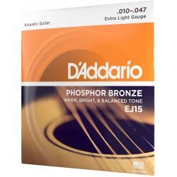 D'Addario EJ15-3D Phosphor Bronze - 3 Seturi Corzi Chitara Acustica 10-47 D'Addario - 3