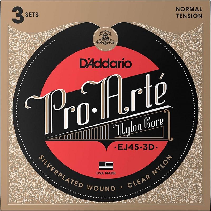 D'Addario EJ45-3D Pro-Arte Clear/Silver Normal Tension - 3 Seturi Corzi Chitara Clasica D'Addario - 2