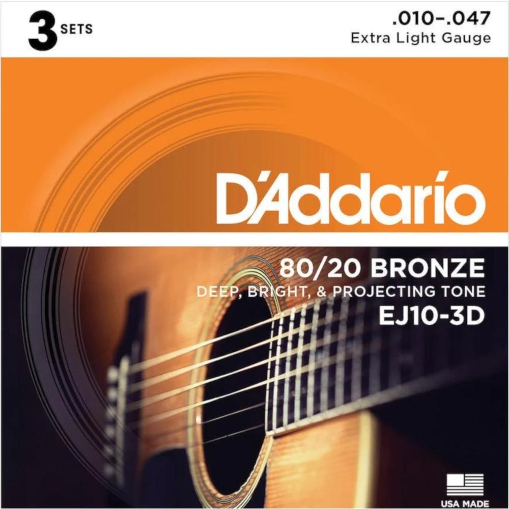 D'Addario EJ10-3D 80/20 Bronze - 3 Seturi Corzi Chitara Acustica 10-47 D'Addario - 1
