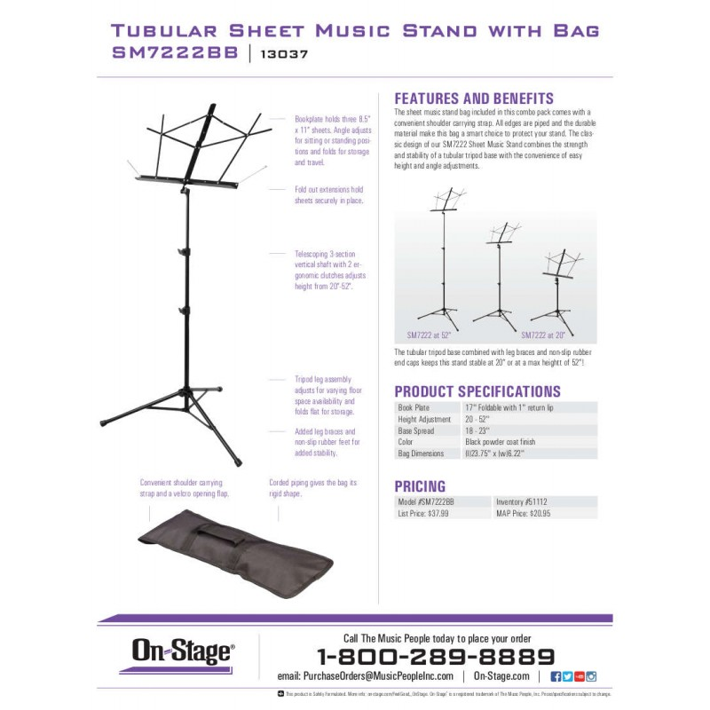 OnStage SM7222BB - Stativ Note cu Husa On-Stage Stands - 1