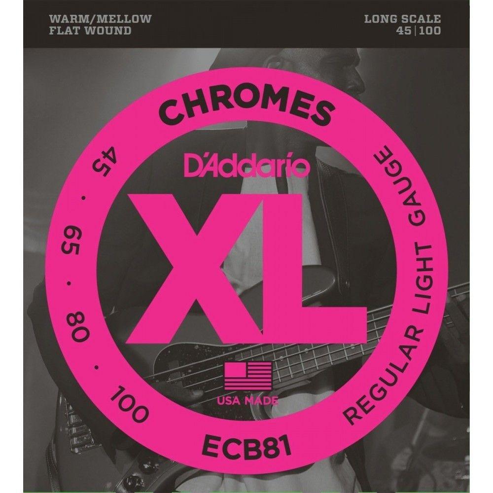 D'Addario ECB81 Flatwound Long Scale - Set 4 Corzi Chitara Bass 45-100 D'Addario - 1